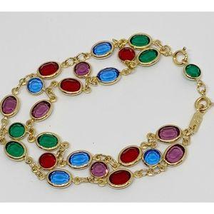 Swarovski Crystal Bezel Double Strand Bracelet